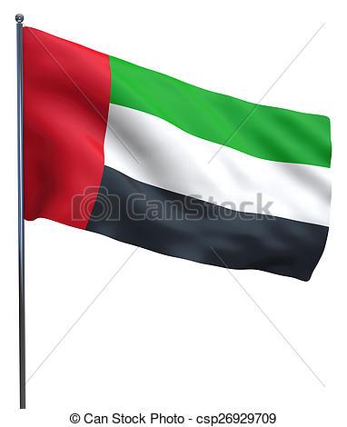 Dubai clipart Illustration UAE waving flag Illustration