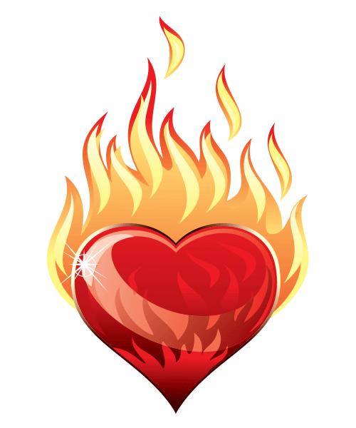 Flames clipart blaze  symbols heart flames blaze