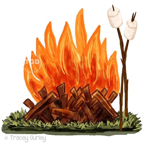 Warmth clipart bonfire  Marshmallow Clip Campfire watercolor