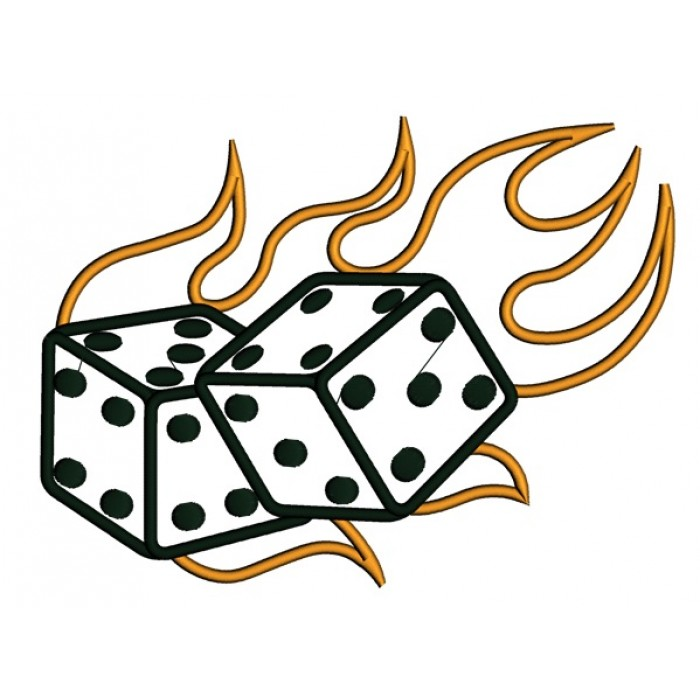 Dice clipart flames Jpg With Embroidery Lucky Flames
