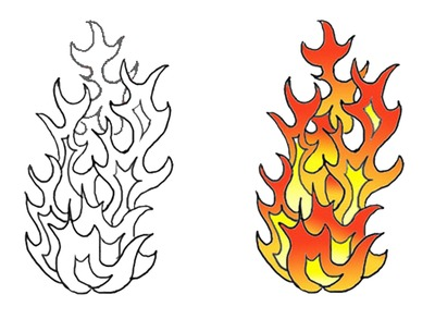 Flames clipart flame outline Clip Page Art Clip Tattoos