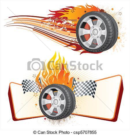 Flames clipart hot wheel Vector tire flame wheel automobile
