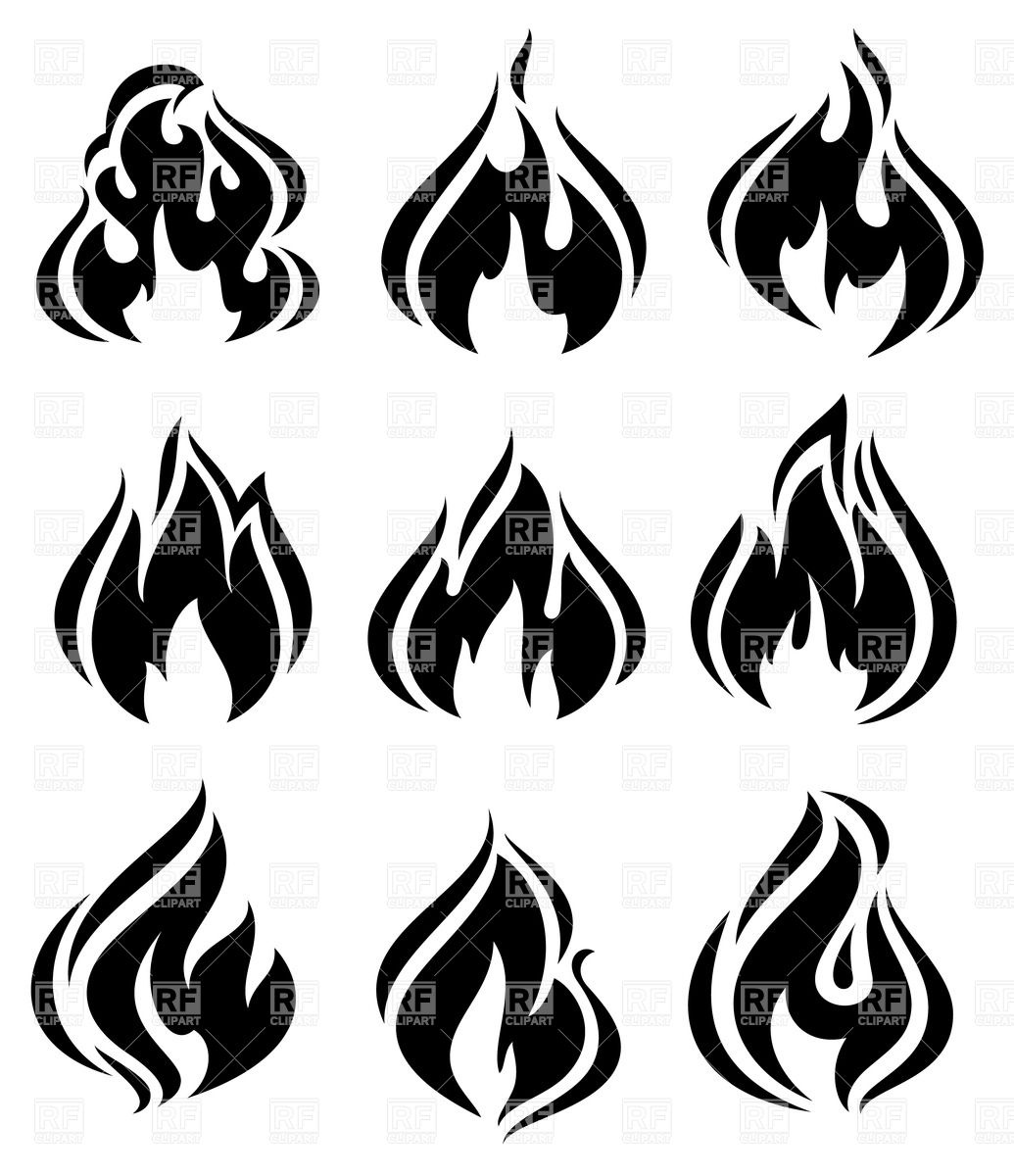 Flames clipart silhouette Black Royalty Download simple silhouettes
