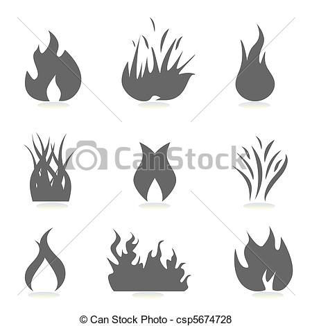 Flames clipart silhouette Vector Fire icons csp5674728 Search