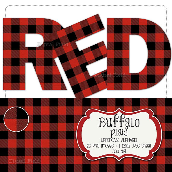 Flannel clipart Clip digital flannel red printable