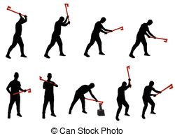 Flannel clipart chopping wood Young chopping of man splitting