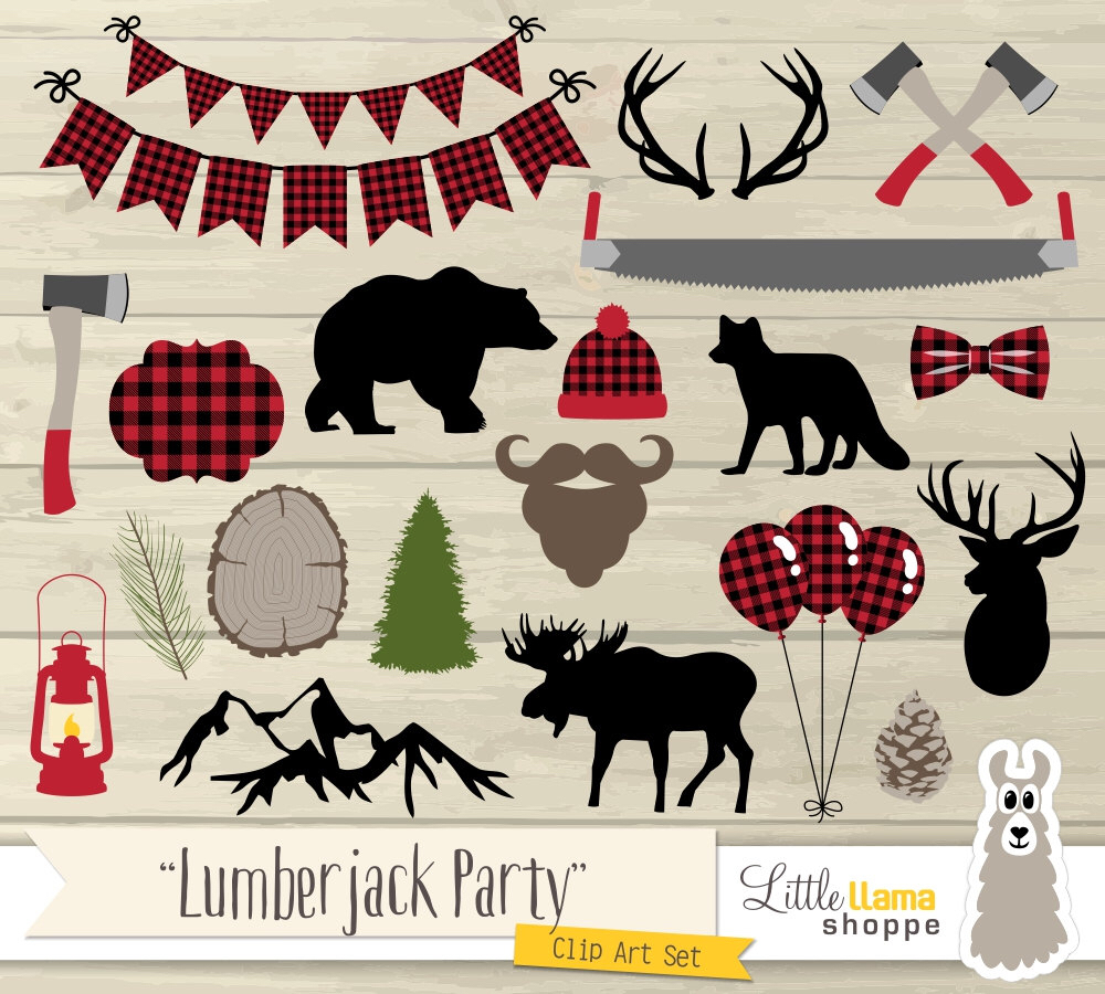 Flannel clipart chopping wood Commercial Art Party Art Woodland