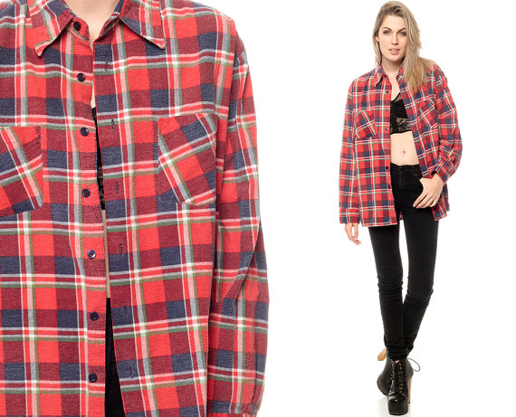 Flannel clipart mens red Down Grunge Flannel 1990s Shirt