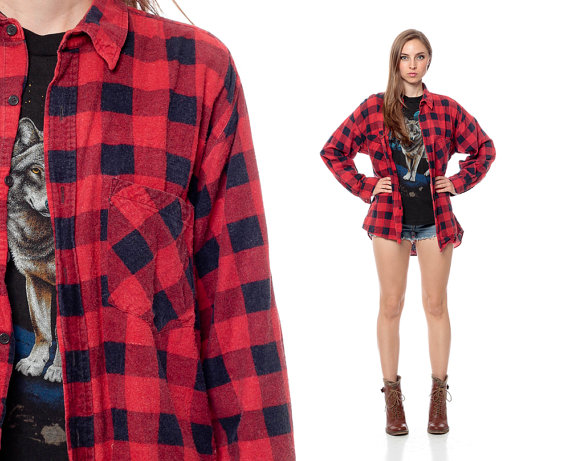 Flannel clipart mens red Button GRUNGE Plaid Faded Shirt