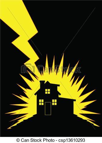 Flash clipart lightning strike House silhouette Struck of EPS