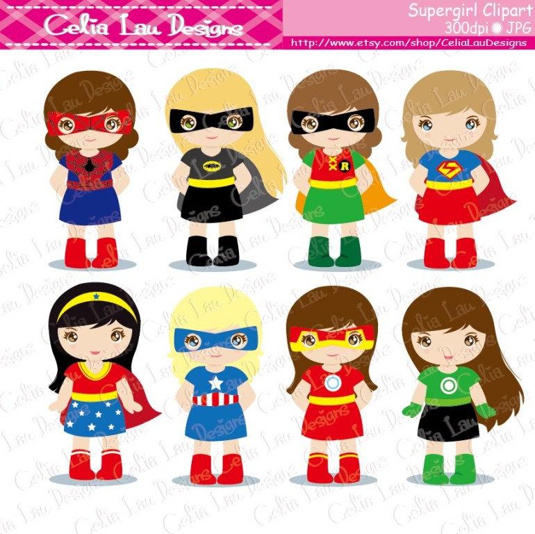 Mini clipart superheroes Clip Superheroes (S019) Girl Clipart