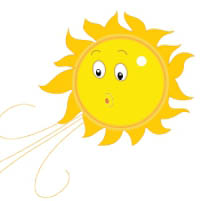 Moving clipart sun Weather sun air blowing animation