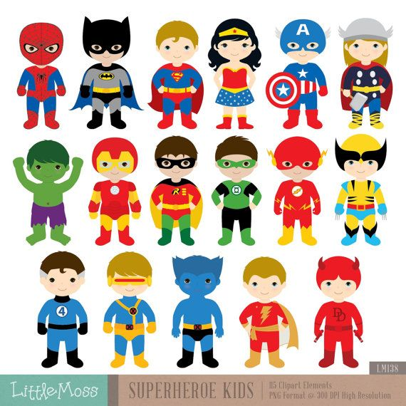 Spiderman clipart batman superman Superheroes characters Digital Superhero 25+
