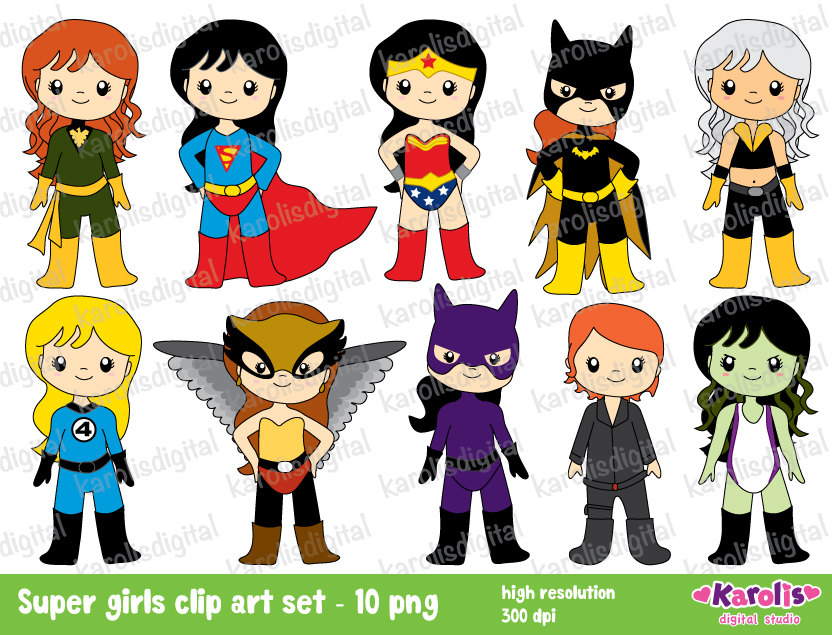Flash clipart superhero character Woman & use girls super