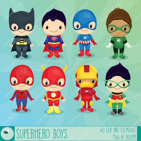 Superman clipart supe power / LN069 Superhero boys INSTANT