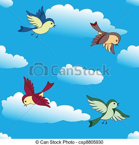 Clouds clipart bird Vector  birds in Vector