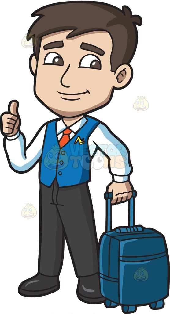 Wings clipart flight attendant Male A Male Trolley Carrying
