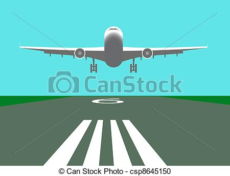 Drawn aircraft airplane landing #6