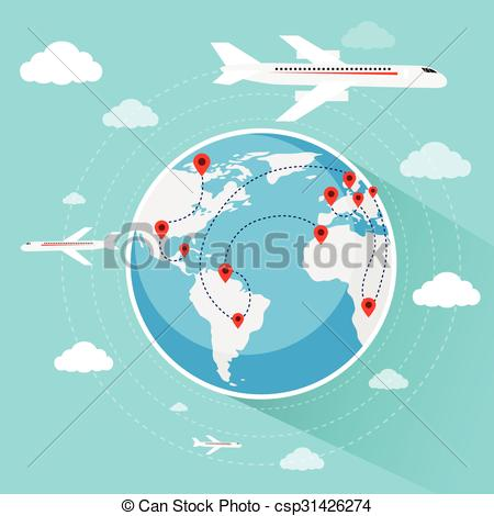 Vacation clipart flight Globe Plane Booking World csp31426274
