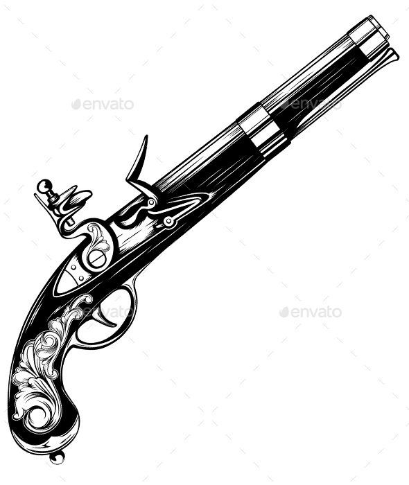 Drawn shotgun old gun GraphicRiver Flintlock Old Pistol Pistol
