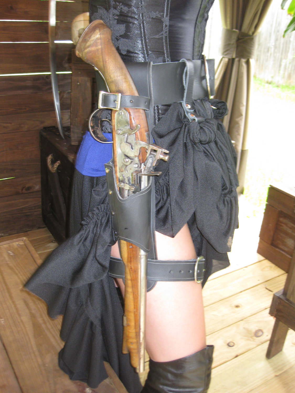 Flint Lock clipart western Leather Black  Holster /