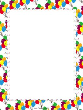 Balloon clipart page border Free border of along festive