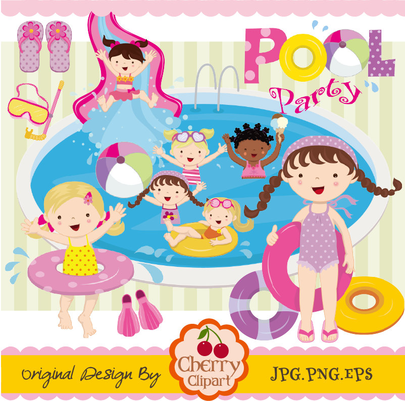 Floating clipart kiddie pool Crafts Etsy paper Commercial Clipart