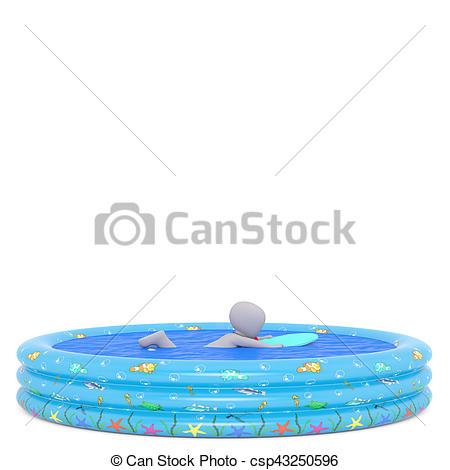 Floating clipart kiddie pool 3D uses of Stock in