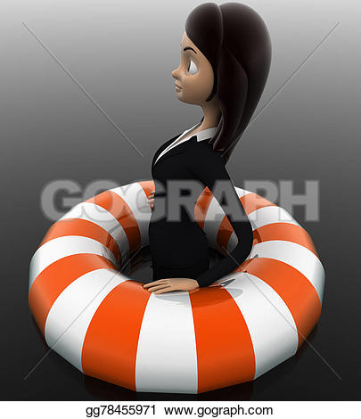 Floating clipart lifesaver Woman angle view 3d life