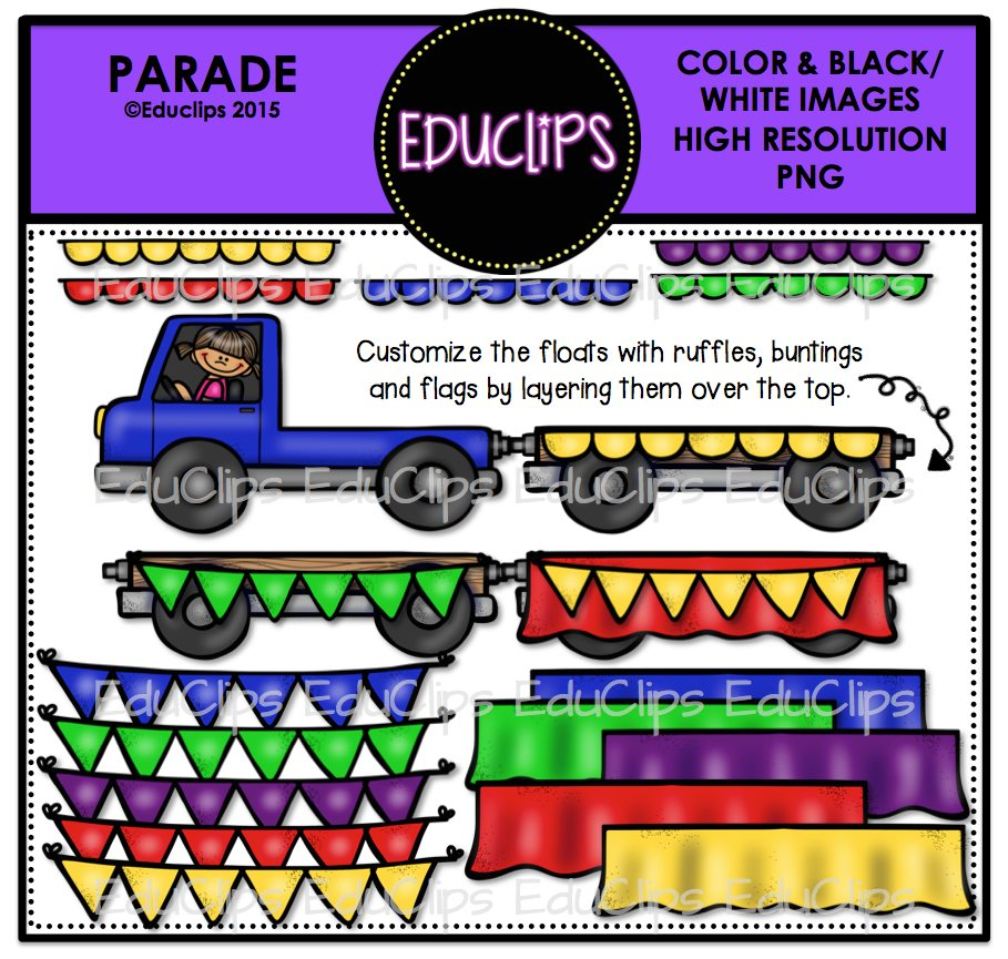 Floating clipart parade (Color to to loading Parade