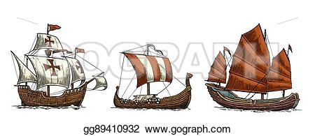 Floating clipart sail Art sea ships Vector drakkar