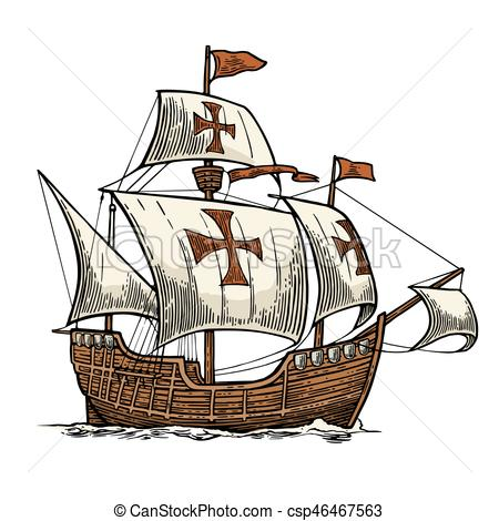 Floating clipart sail Caravel waves the Vector on