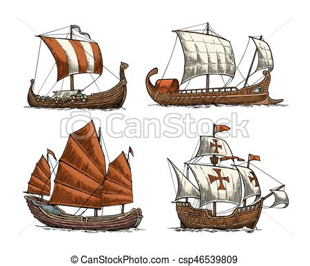 Floating clipart sail Waves Clipart junk on vector