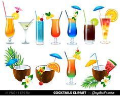 Floating clipart summer outing DRINKS Clip png Cocktail Clipart