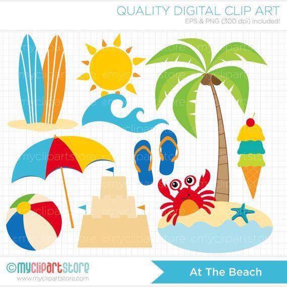 Reach clipart Beach Clipart Vector art Summer use on