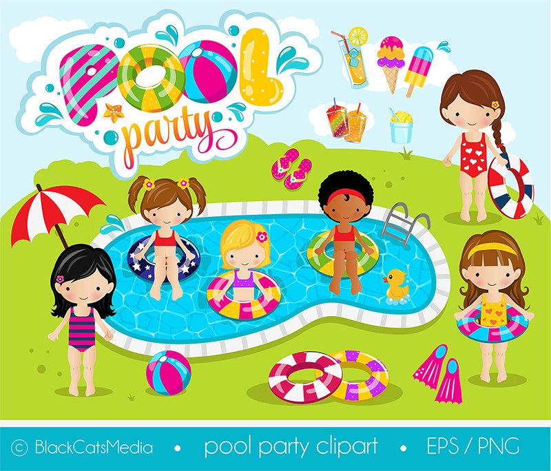 Bubble clipart pool party Pool Girls clipart pool digital