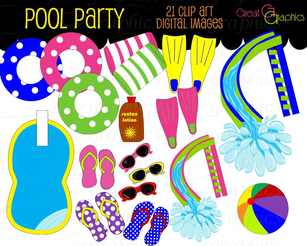 Background clipart pool party Party Art Art party Clipart