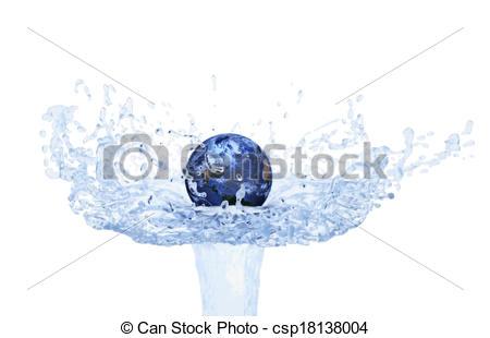 Floating clipart water splash Water on World on Illustration