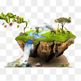 Floating Island clipart theme park Downloads PSD free PNG psd