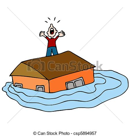 Flooded clipart drawing picture Flooded An of House the