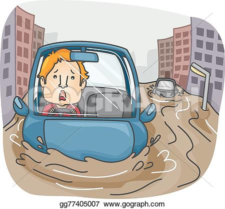 Flooded clipart drawing picture Flood Flash Man Highway GoGraph