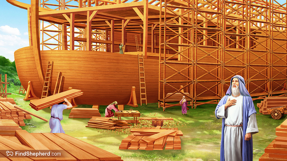 Flooded clipart noah building ark Tells of him has of