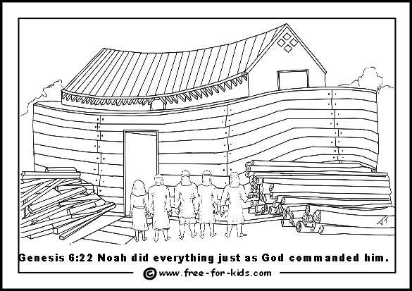 Flood clipart noah building ark Sons Noah Ark Colouring Ark