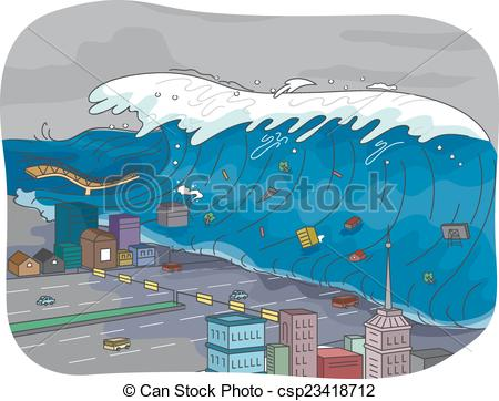 Tsunami clipart city  Vector Art of Clip