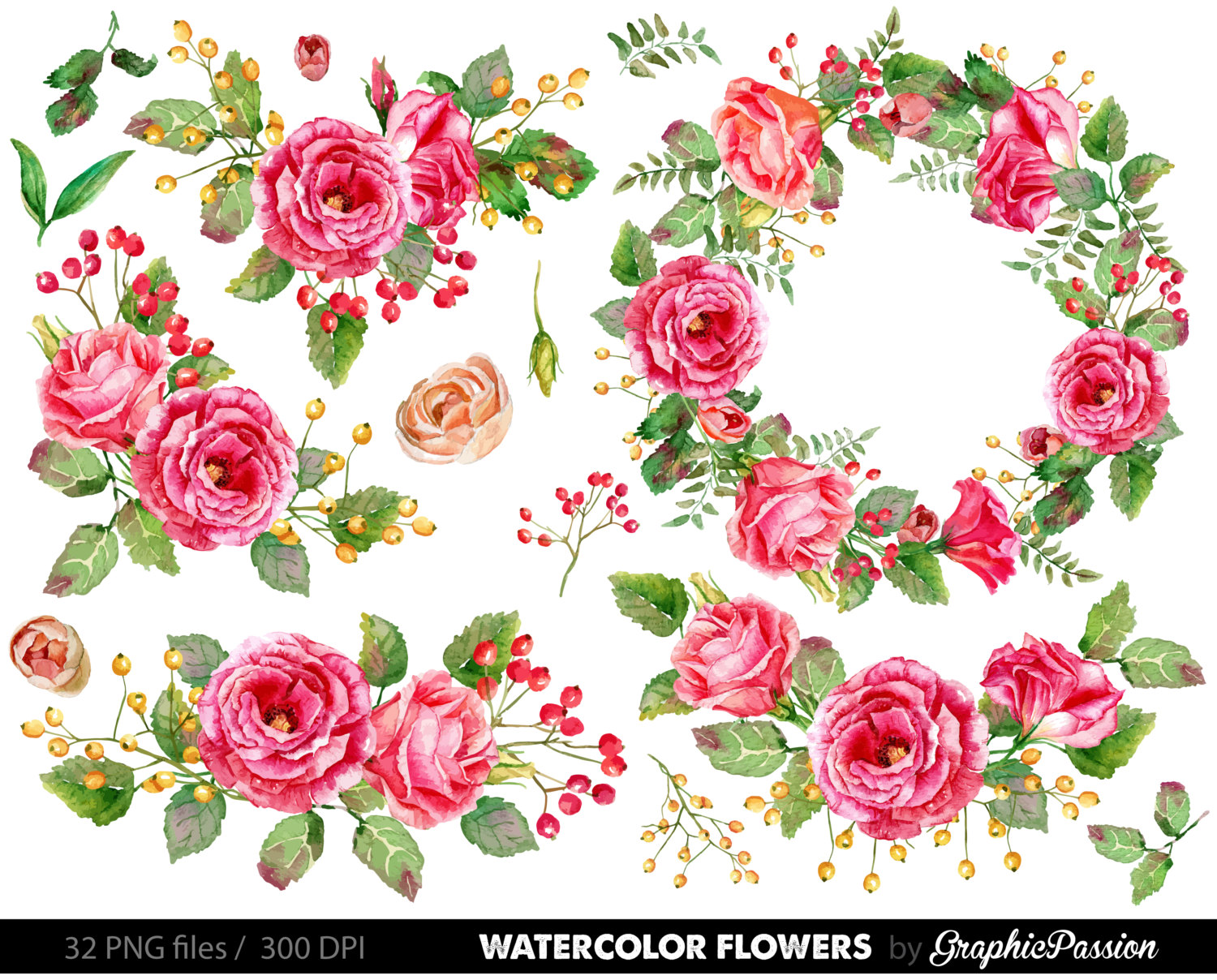 Floral clipart Flower Bouquet Painted flowers Clipart