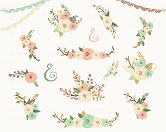 Floral clipart oval Floral 19 Rustic Invitation Flowers