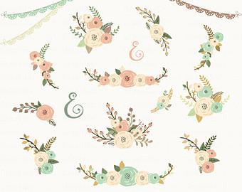 Vintage Flower clipart rustic flower Floral Bouquet 19 Wedding Invitation