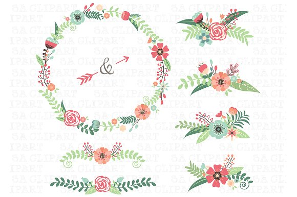 Floral clipart round flower frame Creative Floral Clipart Illustrations Wedding
