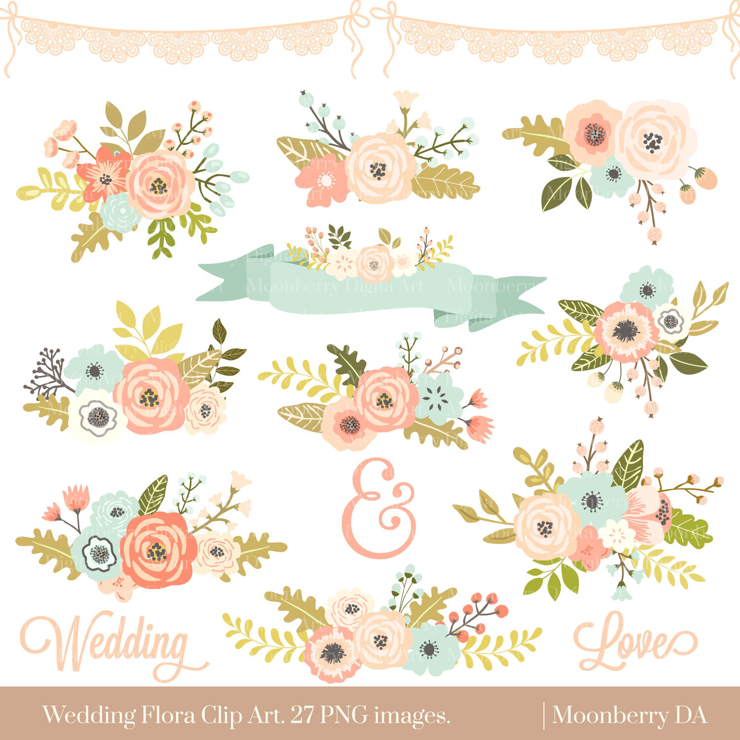 Orange Flower clipart flowery  FLORAL Floral CLIPART Wedding