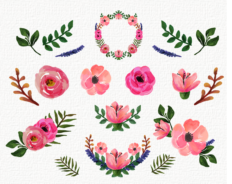 Elements clipart floral Watercolor painting watercolor art Roses